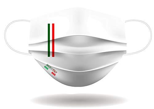 Mascherina per Viso con elastici lavabile e sterilizzabile Unisex Made in Italy BIANCO