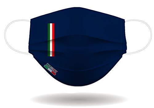 Mascherina per Viso con elastici lavabile e sterilizzabile Unisex Made in Italy BLU NAVY