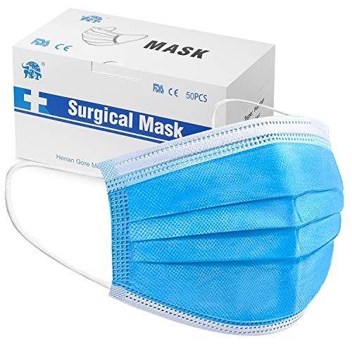 Mascherine Monouso 50 Pezzi Non Tessuto Mascherina Bocca 3 lagig Protezione Usa E Getta Antipolvere Blu