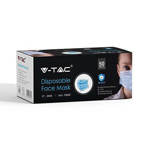 Mascherine monouso VTAC a 3 strati 50 pezzi per scatola scorte disponibili nel Regno Unito