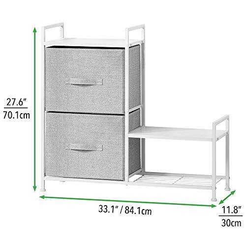 mDesign Cassettiera con due larghi e profondi cassetti in stoffa  Com in legno e metallo per ingresso lavanderia o camera da letto  Dotato di ampia mensola e scarpiera laterale  grigio