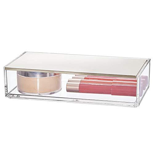 mDesign Organizzatore cosmetici  Piccolo porta trucchi ideale per conservare eyeliner mascara gioielli e molto altro  Portaoggetti con coperchio e specchio  trasparenteargento opaco