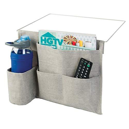 mDesign Portaoggetti letto  Tasche portaoggetti per cellulare telecomando riviste occhiali  Vano portaoggetti per il letto o divano con 4 tasche  grigio chiaro