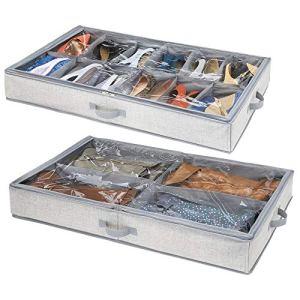 mDesign Set da 2 contenitori per sotto Letto con 4 vani  Contenitore sottoletto con Cerniera per Indumenti Scarpe e Co  Scatole per Vestiti Scarpe e Accessori  Grigio