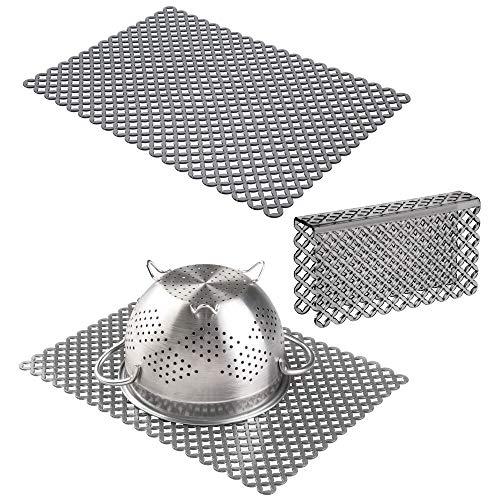 mDesign Set da 3 Tappetini per lavello cucina in plastica  Grande tappetino lavandino e protezione bordo ritagliabili  Accessori cucina per lavello a doppia vasca  grigio