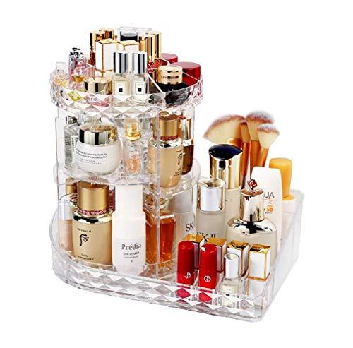 MELUR Organizzatore di trucco espositore cosmetico girevole da 360 gradi organizer per vanit regolabili Scaffale da bagno organizer cosmetico da bancone contenitore cosmetico trasparente