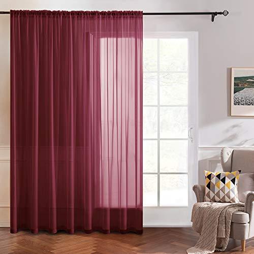 MIULEE 1 Pannello Voile Tenda Trasparente con Passante per Finestra per Soggiorno e Camera da Letto 300 x 175 CM Rosso