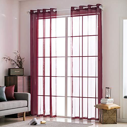MIULEE 2 Pannelli Tende Voile Leggeri Trasaprenti Decorative con Occhielli per Soggiorno e Camera da Letto 140x245cm Rosso