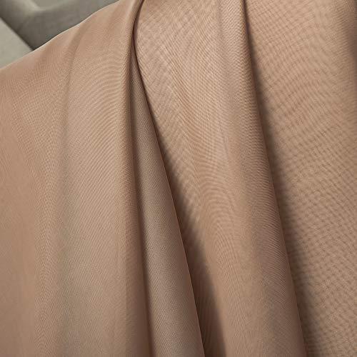 MIULEE Mantovana Tenda Trasparente Voile Decorazione da Finestra per Casa Soggiorono 140X550cm Castagno