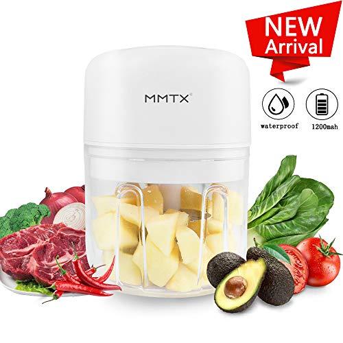 MMTX Mini Tritatutto Elettrico Piccolo Robot da Cucina Mixer Mini Frullatore Portatile Multifunzionale per Carne VerdureCipolle e Frutta Tritacarne Ricaricabile USB 37 V 250 ml