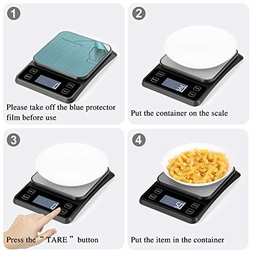MOSUO Bilancia da Cucina Elettronica con Carica USB Bilancia Digitale da Cucina 10kg1g Alimenti Bilancia Cucina Digitale Funzione Tare LCD Display Acciaio Inossidabile Batterie Incluse