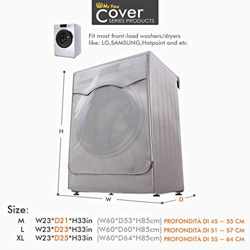 Mr You Coprilavatrice da Esterno Copertura Impermeabile Telo Proteggi Lavatrice 60x64x85 Copertura su 4 Lati