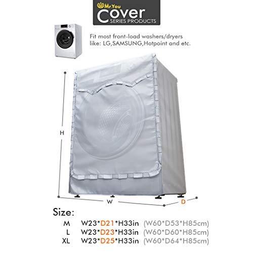 MrYou Lavatrice Copertura per Esterni Extra pi Denso Tessuto Impermeabile Protezione Solare Termico Antiultravioletti 60x53x85cm