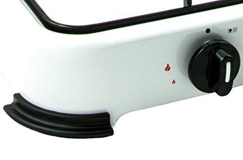 NJ02fornello a gas GPL portatile da campeggio o esterni con 2fuochi e coperchio smaltato