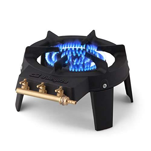 Orbegozo FO 6500  Fornello a gas in ghisa superficie resistente alle alte temperature tre zone indipendenti di accensione diametro 18 cm quadrupla corona
