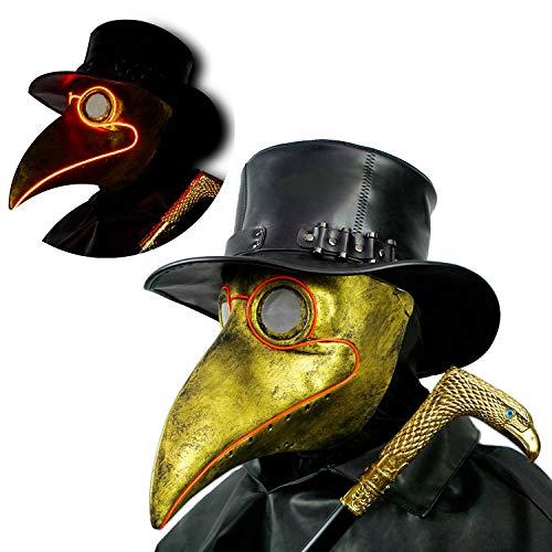 PartyHop CreepyParty LED Maschera Medico Peste Maschera di Oggetti di Scena di Halloween Steampunk Becco Lungo Becco di Uccello Luce Oro