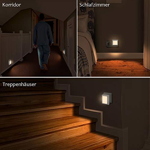 Presa di luce notturna con sensore crepuscolare Emotionlite 2 pezzi Luminosit Regolabile in modo continuo Molto bene per la camera dei bambinicucina luce di orientamentoBianco caldo