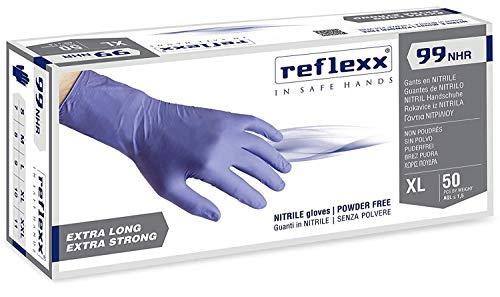Reflexx R99 Guanti HiRisk in Nitrile senza Polvere Gr 89 50 Pezzi Blu L