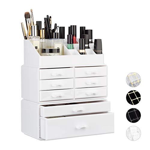 Relaxdays 1002313549 Organizzatore MakeUp con Cassetti PortaTrucchi e Accessori Acrilico Bianco 14 x 24 x 30 cm