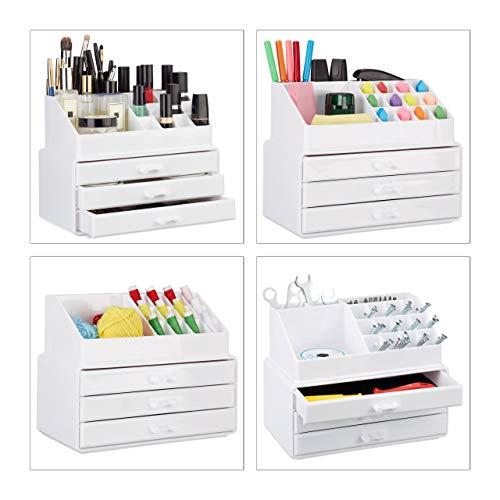 Relaxdays 1002313749 Organizer MakeUp Piccolo 2 Pezzi Contenitore per Cosmetici con Cassetti Bianco