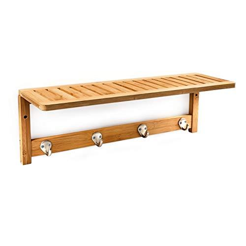 Relaxdays Porta Asciugamani in Bamb per Il Bagno Appendi Accappatoi e Asciugamani con le Seguenti Misure H X B X T 18 X 50 X 16 cm Pratico GuardarobaAttaccapanni per Parete Legno Color Naturale