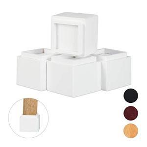 Relaxdays Set di 4 Rialzi per Mobili Aumento in Altezza di 85 cm per Tavoli Sedie HxLxP 10 x 115 x 115 cm Bianco bamb Set da 4 Pz
