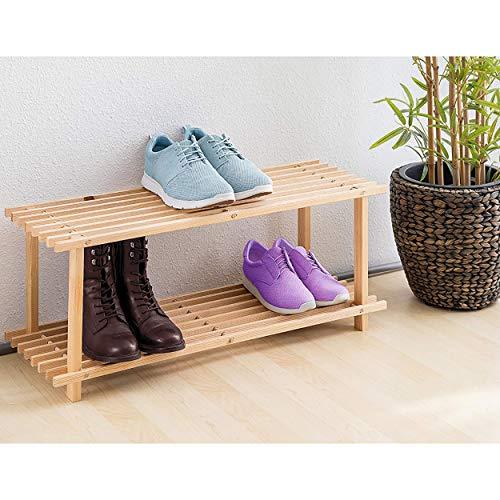 Scarpiera in legno naturale 2 livelli resistente decorazione essenziale per la casa colore legno naturale facile da montare