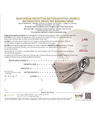 SENSI Mascherina PROTETTIVA Batteriostatica Idrorepellente LAVABILE Made in Italy  CONFEZIONE DA 4 MASCHERINE