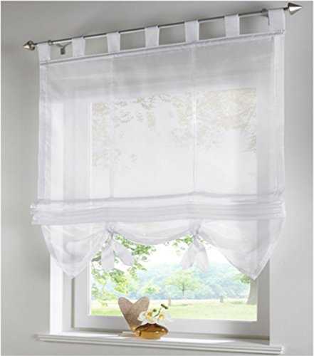SIMPVALE Condole Stile Romano Litri Caduta Ombra Finestra Tenda per Balcone e Cucina Bianco 100cm155cm