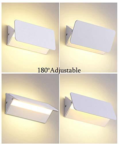 SISVIV 5W LED Lampada da Parete 180  Regolabile Applique Interno Moderno Nordico per Camera da Letto Soggiorno Corridoio Bianco