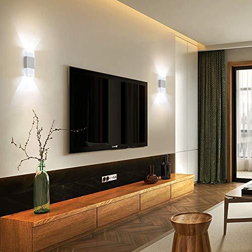 SISVIV 6W LED Applique da Parete Interno Lampada da Parete Moderna in Alluminio e Acrilico per Camera da Letto Soggiorno Corridoio Bianco Freddo
