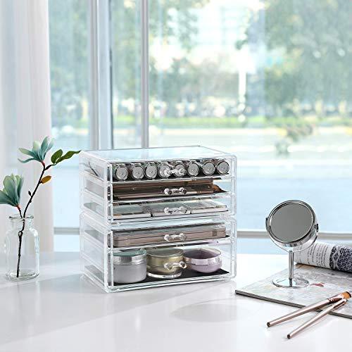 SONGMICS Armadietto per Cosmetici 2 Contenitori Portaoggetti per Gioielli e Cosmetici Impilabile con 5 Cassetti Polistirene Trasparente JMU32TP