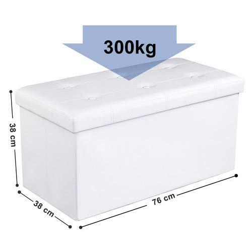 SONGMICS Cassapanca con Contenitore di 80 Litri Pouf Poggiapiedi Sgabello Pieghevole Capacit di Carico di 300 kg in Ecopelle Seduta Imbottita Bianco LSF106