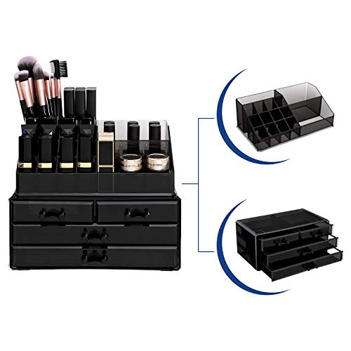 SONGMICS Cosmetic Organizer Scatola Organizzatore Makeup Acrilico Cassettiera Trasparente JKA007B