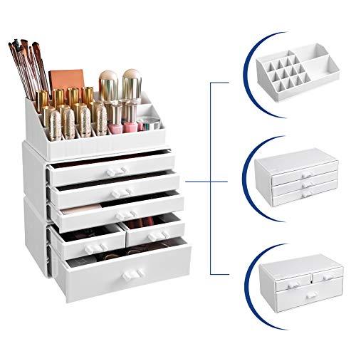 SONGMICS Portatrucchi Organizzatore Espositore Portaoggetti per Accessori Cosmetici Multi Scomparti e 6 Cassetti 3 in 1 in Acrilico Bianco JKA009W