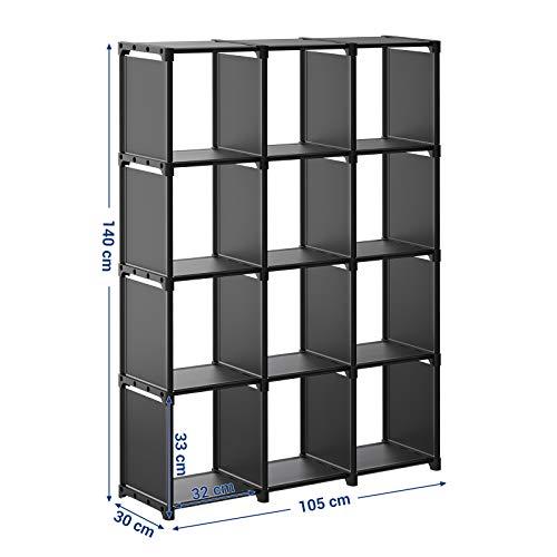 SONGMICS Scaffale Portaoggetti a 12 Cubi Libreria Fai da Te Guardaroba Modulare a 12 Cubi in Soggiorno Bagno Camera da Letto con Martello di Gomma 105 x 30 x 140 cm Nero LSN12BK