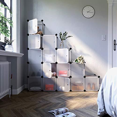 SONGMICS Scaffale Portaoggetti Modulare Fai da Te con 16 Cubi Mobile in Plastica di qualit Guardaroba a Scompartimenti con Ante Bianche Stabile e Facile da Montare LPC44BS