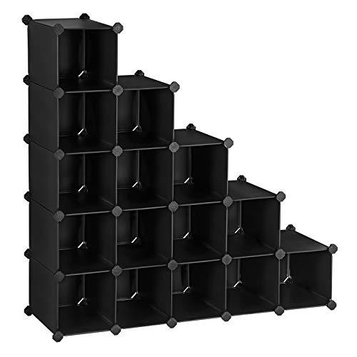 SONGMICS Scarpiera Componibile Scaffale Modulare con 15 Scomparti Armadio Fai da Te Mobiletto Portaoggetti Ogni Scomparto di 22 x 35 x 22 cm Rete Metallica Nero LPC44HV1