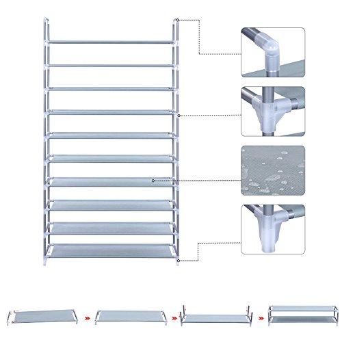 SONGMICS Scarpiera Scaffale a 10 Ripiani capacit Fino a 60 Paia di Scarpe Scaffali portascarpe Cabina Guardaroba in Acciaio Tessuto Grigio 100 x 29 x 175 cm LSR10G