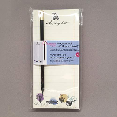 Susi Winter Design  Paper 18033 Shopping List  Blocco magnetico con portamine e matita magnetica aderisce a tutti i metallici come frigorifero parete magnetica ecc 2 Pezzi