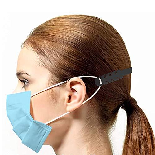 TBOC Cinghia di Prolunga per Maschera  Pack 5 Unit Estensione Antiscivole Nera Ganci in Silicone Supporto Fascetta Regolabili e Allungabili per Prevenzione Mal Testa Protezioni Salva Orecchie