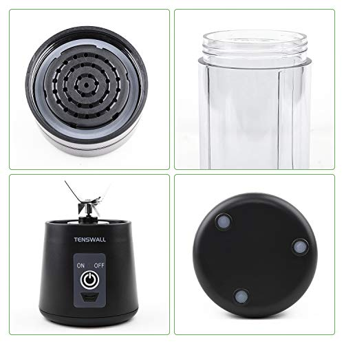 TENSWALL Frullatore Portatile 380ml Mini Frullatore con 6 Lame in Acciaio Inox Multifunzionale Frullatore per Frullati con USB Ricaricabile per Frullati Frappe Frutta e Verdura BPA Free