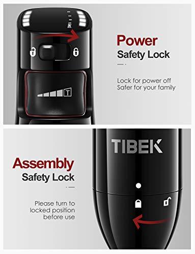 TIBEK Frullatore ad Immersione Professionale 1000W Mixer Frullatore Immersione con 4 Lame Sfalsate Controllo Intelligente della Velocit e Design Antischizzo Acciaio Inossidabile Nero