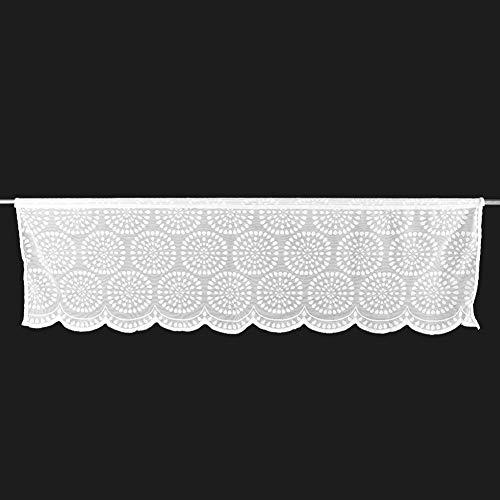 TOPINCN Tenda a Mezza Finestra Ricamata per Camera da Letto Tenda mantovana per Bagno Lavanderia Cucina caffetteria Bianco
