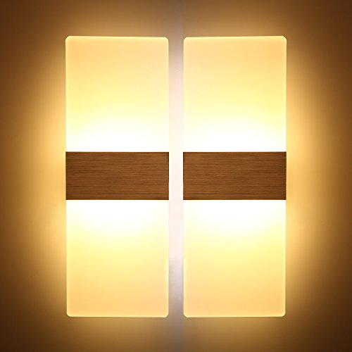 Topmoplus 12W Lampada da parete a LED applique ideale per Camera da letto soggiorno scale e salonilampada led corridoio in acrilicoalluminio spazzolato 3000KB marrone