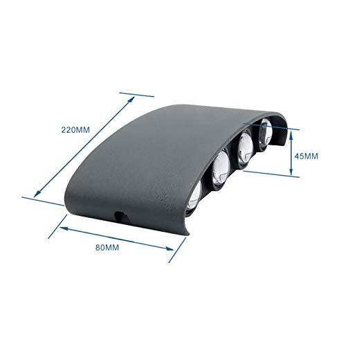 Topmoplus lampada da parete a LED Lampada Muro Alluminio Applique da parete Esterne interne Su e Gi design impermeabile IP65 scala corridoio soggiorno 8W grigiobianco freddo