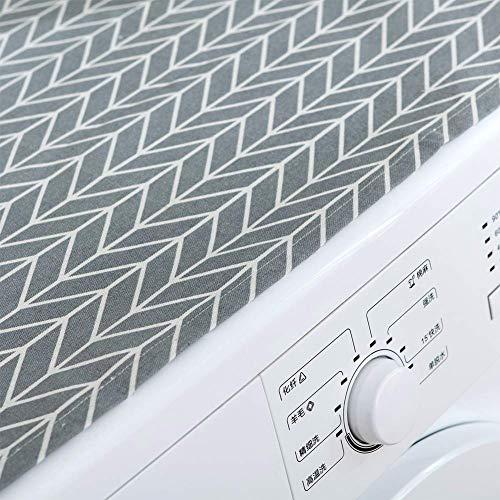 TXYFYP Copertura per LavatriceCoprilavatrice con Chiusura a Zip per lavatrici con carico Frontale Telo Protettivo Copertura per Lavatrice Beige con Fantasia a Cuori Bianchi