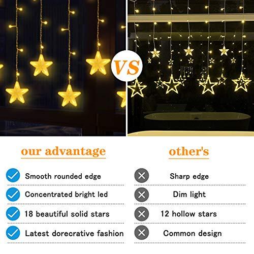 Uping Tenda Luminosa Catena Luminosa 18 Stelle 180 LED Luci Decorative per Natale Casa Giardino Matrimoni Feste Compleanno Bianco Caldo