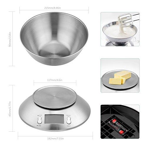 Uten Bilancia Cucina Digitale Bilancia con Ciotola in Acciaio Inossidabile Alta Precisione Display LCD 5kg 2 Litri Colore Argento