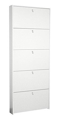 Valentini Eco Scarpiera 5 Ribalte Legno 15 x 67 x 164 cm Bianco